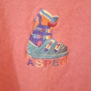 Vintage Sweaters - Vintage Pink Aspen Ski Sweater